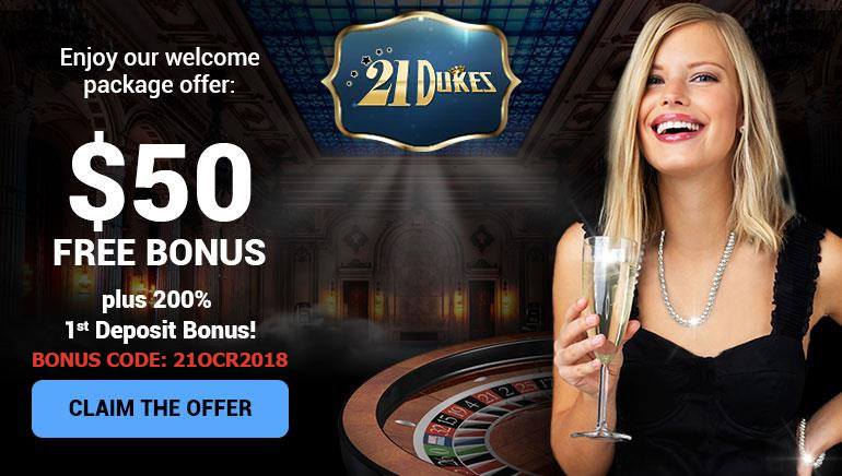 Exclusive OCR Bonus for New Players to 21Dukes Casino