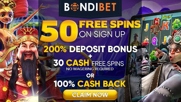BondiBet Casino - 50 Free Spins on Sign up, 200% Deposit Bonus + 30 Cash Free Spins NWR or 100% Cash Back